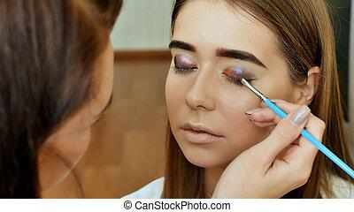 olho, makeup., olhos bonitos, brilhar, make-up., feriado, maquilagem, detail., pálpebras, de, a, eyes.