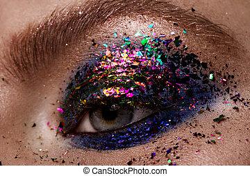 olho, makeup., olhos bonitos, brilhar, make-up.