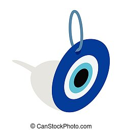 olho mal, turco, amuleto, ícone, isometric, 3d, estilo