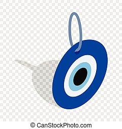olho mal, turco, amuleto, isometric, ícone