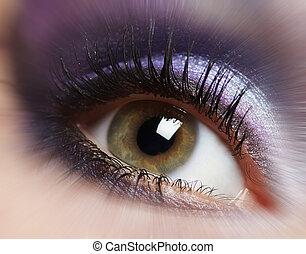 olho, mulher, moda, makeup.