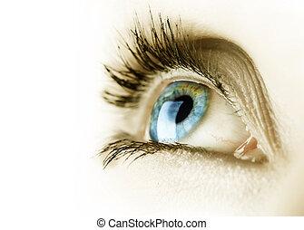 olho mulher, sobre, branca