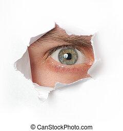olho, olhando, um, buraco, em, papel