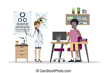 olho, ophtalmologist, exame