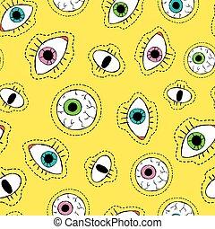 olho, ponto, padrão, seamless, remendo, desenho, ícone