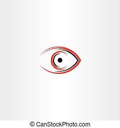 olho, símbolo, sinal, stylized, human, ícone