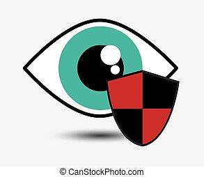 olho, segurança, desenho, sistema, vigilância