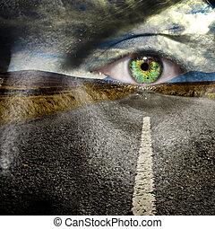 olho, seu, estrada, mantenha