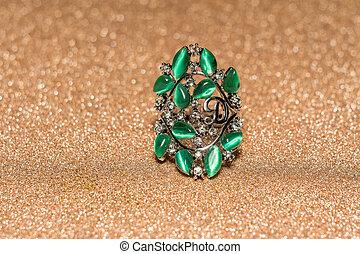 olho tigre, anel, verde