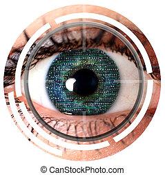 olho, varredura, cyber, verde, identificação, segurança, ou