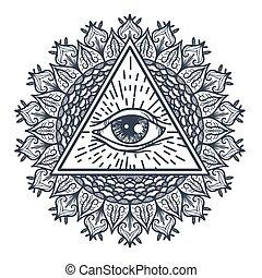 olho, vendo, tudo, triangulo, mandal