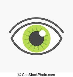 olho verde, símbolo.