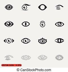 olho, vetorial, jogo, ícone