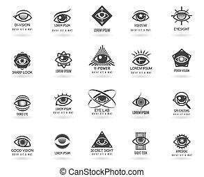 olho, vetorial, logotipos, jogo