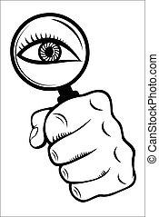 olho vidro, magnificar