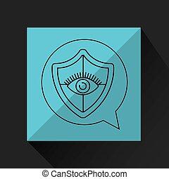 olho, vigilância, proteção, escudo