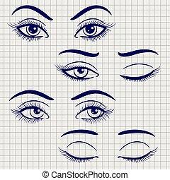 olhos abrem, caneta, femininas, fechado
