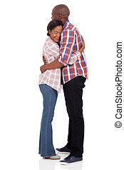 olhos, africano, par abraçando, fechado