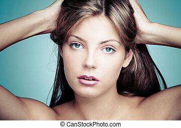 olhos azuis, beleza