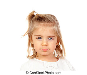 olhos azuis, bonito, menina bebê, loiro