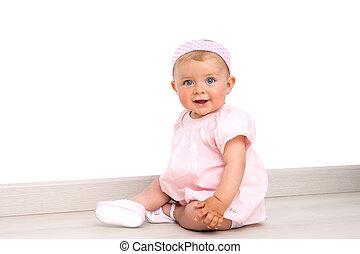 olhos azuis, chão, sentando, menina bebê