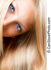 olhos azuis, loura, hair., menina, loiro