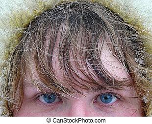 olhos azuis, neve, cabelo, sob, woman\'s