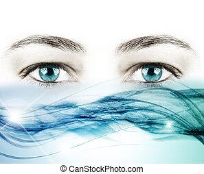 olhos azuis, onda, água, cristal, fundo, branca