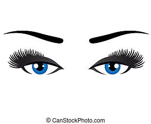 olhos azuis, supercílios, longo