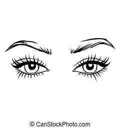 olhos bonitos, brows., supercílios, longo, mão, vetorial, fêmea preta, desenhado