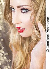 olhos bonitos, cabelo, verde, loura, modelo