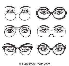 olhos bonitos, femininas, óculos
