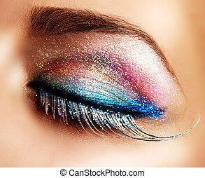 olhos bonitos, feriado, make-up., falso, chicotadas