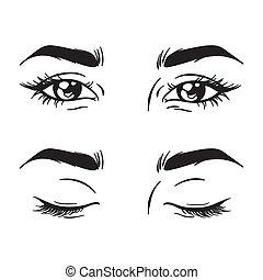 olhos bonitos, jogo, fechado, -, femininas, abertos