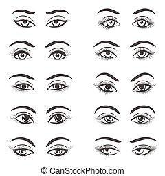 olhos bonitos, jogo, femininas
