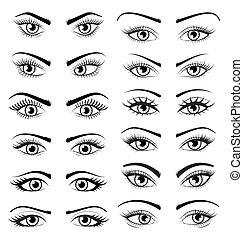 olhos bonitos, jogo, femininas, isolado, fundo, branca, abertos