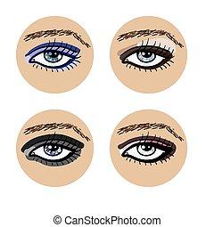 olhos bonitos, jogo, femininas, vetorial