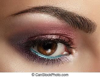 olhos bonitos, make-up.