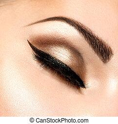 olhos bonitos, maquiagem, estilo, retro