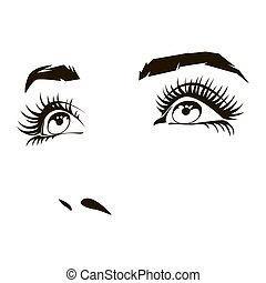 olhos bonitos, mulher, ilustração, rosto, vetorial, femininas, expressivo