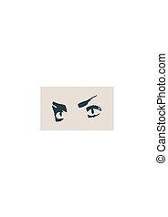 olhos, branca, pretas, isolado, femininas
