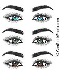 olhos, coloridos, olhar, femininas
