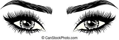 olhos, com, longo, supercílios, e, testas