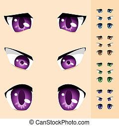 olhos, de, animais