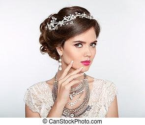 olhos, earring., jóia, stare., senhora, branca, isolado, makeup., elegante, estúdio, experiência., hairstyle., luxo, menina, expressivo, style., atraente