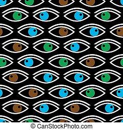 olhos, eps10, cor, padrão, seamless, olhar, vário, pretas, tu