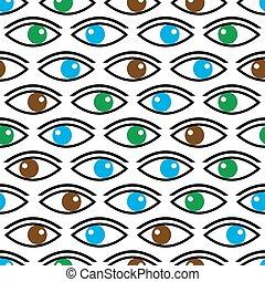 olhos, eps10, cor, padrão, seamless, olhar, vário, tu
