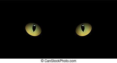 olhos, experiência., isolado, realístico, vetorial, pretas, desenho, element., gato