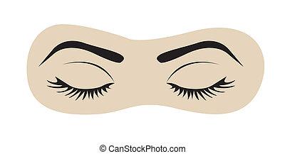olhos fechados, com, supercílios, e, sobrancelhas
