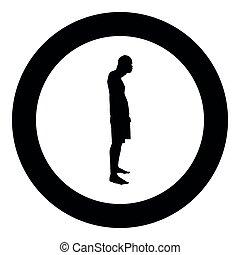 olhos finais, seu, silueta, cor, ilustração, lado, homem preto, mãos, círculo, vista, redondo, ícone